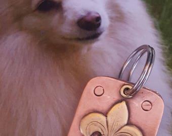 Handmade A 54 Dog Tag - Dog ID Tag - Pet Tag - Dog Tags Custom Brass on Copper Fleur de LIS