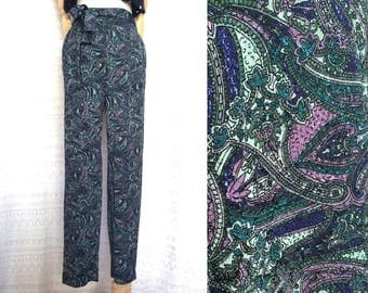 "80s trousers S / M ""Nadia"" Greenland Paisley vintage high waisted trousers, green/purple jacquard hippie pants, stylish unique 90s clothing"