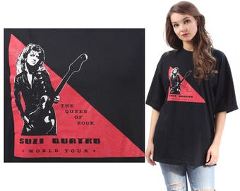 SUZI QUATRO T-Shirt 70s Band Rock Top World Tour 1980s Tee Shirt Black Vintage Rocker Rock Band Black White Red Men Women Festival Large