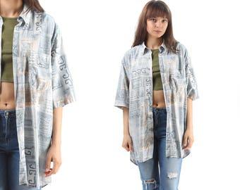 Aztec Summer Shirt 90s Oversized Abstract Print Shirt Men Women Blue White Geometric Patterned Summer Shirt size XXL
