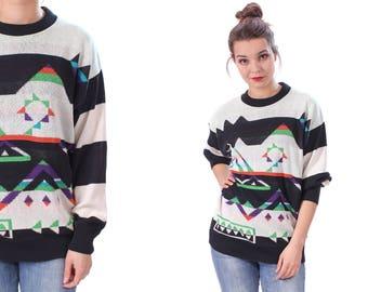 Aztec Print Sweater 80s Winter Longline Jumper Women Colorful Knitwear Black White Abstract Geometric Crew Neck Tribal Boho Slouchy . Large