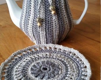 Tea Cosy with matching mandala, tea cozy, teapot, grey, silver