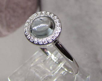 Ring ring in silver and clear blue topaz size 50