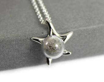 DIY Sterling Silver Memorial Cremation Ash Star Necklace. Keepsake Memory of Loved Pet. Memorial Jewellery, Urn Necklace, Cremation Jewelry,