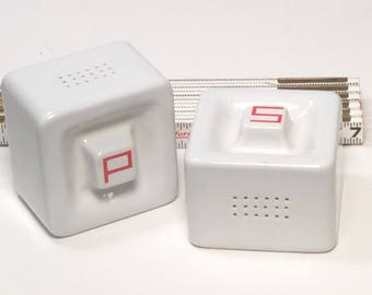 Vintage Red and White Diner Salt and Pepper Shakers / Square Heavy Salt and Pepper Shakers