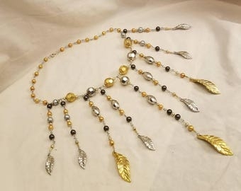 Silver and Gold Leaf Jewelry Set