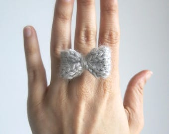 Mini Bow Ring, Handknitted Accessory, Hand Knit Hair bow, Pin Bow, Baby Clip hair, Hair Accessory, Brooch Bow, Bow earrings, gift under 10