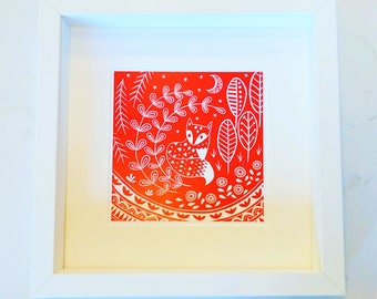 Daniel Fox in red, small framed print, Scandinavian Folk art, woodland animal lover gift