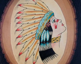 native american indian princess watercolor art painting mounted on wood