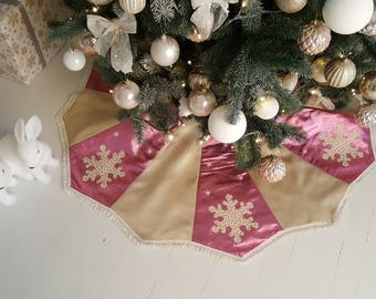 pink tree skirt 45 christmas golden tree skirt applique snowflakes - Pink Christmas Tree Skirt