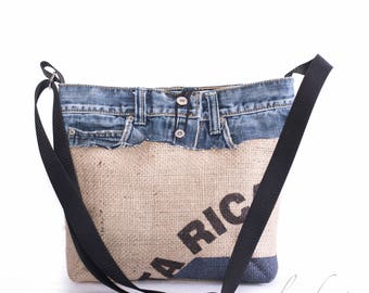 Upcycling coffee bag / jeans - pocket Costa Rica