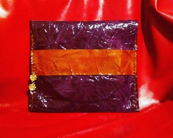pouch in colorful cowhide leather