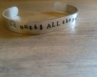 until all the pieces fit/autism awareness/cuff bracelet/aluminum cuff/hand stamped/metal bracelet
