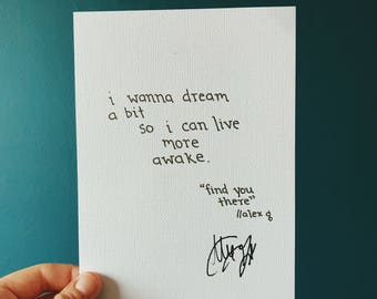 Find You There - Alex G // SIGNED LYRIC PRINT