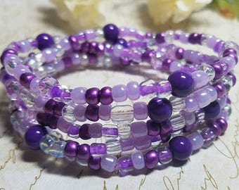 Purple Bracelet, Stretch Wrap Bracelet, Beaded Wrap Bracelet, Ultra Violet Bracelet, Purple Wrap Bracelet, Wrap Bracelet, Mother's Day