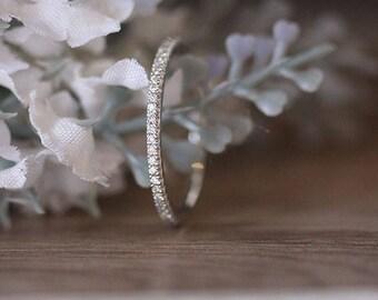 Diamond Wedding Band, Full Eternity Real Diamond 14k White Gold Band, Ring, White Gold Ring, Promise Ring, Diamond Engagement Ring, Bridal