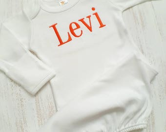 Personalized baby boy sleeper gown- baby boy sleeper, baby gift, embroidered sleeper, newborn sleeper gown, layette gown, orange baby boy