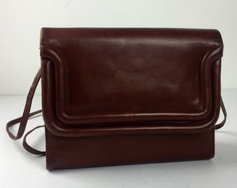 Vintage 70's 80's Saks Fifth Avenue sculpted brown nappa calf leather crossbody handbag