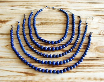Afghani lapis lazuli necklace, Necklace with natural Pyrite,Statement Necklace, Natural Stones Necklace, Blue Lapis Beads Necklace