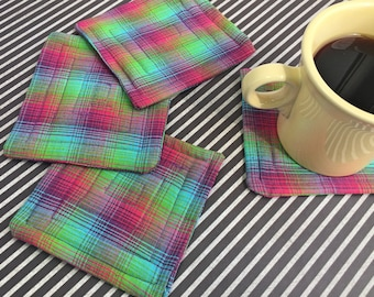 Quilted Fabric Coasters- Set of 4 (Handmade) Plaid