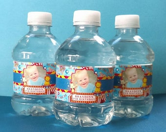 Circus Birthday Water Bottle Labels