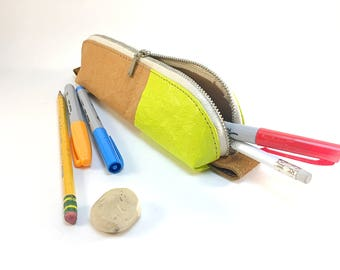 Pencil case made from paper fabric -- natural + neon yellow