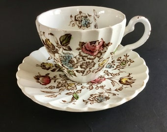 VIntage Johnson Brothers Staffordshire Bouquet Floral Cup & Saucer Set, England