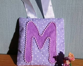 LILAC dotty tooth fairy pouch doorhanger with PURPLE felt letter, PURPLE beaded border, and lilac diagonal pocket on reverse for tooth/coin.