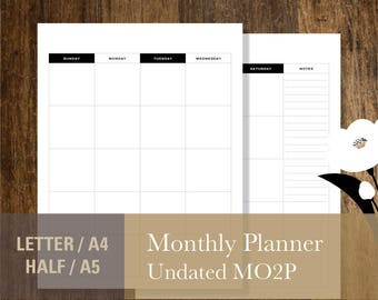 Undated Monthly Planner, PRINTABLE Monthly Planner Inserts, Letter A4  Half-Letter A5 Month on Two Pages MO2P Calendar Template (#014)