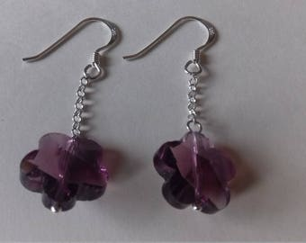 Purple crystal flower sterling silver earrings