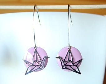 Elegant earring silver origami bird and purple sequin