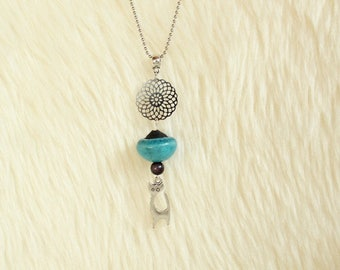 Pearl ceramic raku blue turquoise, rose and silver cat necklace