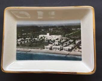 "Key Biscayne Hotel Candy Trinket Dish 1973 Twentieth Anniversary  7 1/2""x 5 1/4"" x 1 1/4"""