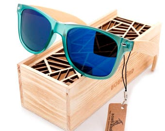Handmade Bamboo Sunglasses Cool Blue Lens