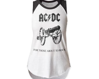 AC/DC For Those About To Rock Women's Soft Fitted 30/1 Cotton Cut Raglan (ACDCSLR1) White/Heather Black