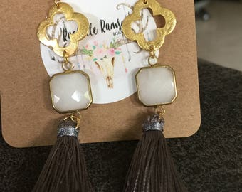 Gray tassel earrings with ivory connector