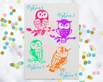 Decal Owl 4 Options Cute Owls Stickers Decal Yeti Tumbler Car Wall Instant Pot Laptop Water Bottle Your Choice of Color and Size
