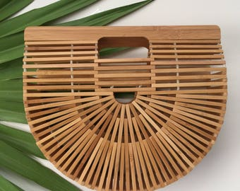 Ships Free! Ark / Arc Woven Bamboo Woven Rattan Handbag