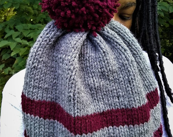 Burgundy and Gray Stripe Two Toned Knit Pom Pom Beanie Hat (CHOOSE YOUR COLORS)