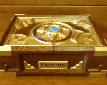 Personalized Hearthstone Box Replica Wood Carving Carved Сasket Mother Valentine Day Birthday Gift Blizzard Card Game