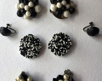 BLACK & WHITE Vintage Cluster Earring Lot Clip on Wear Craft Supply Repurpose Recycle Upcycle Repair