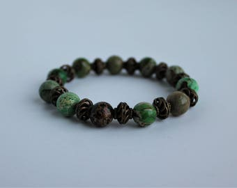 Imperial Jasper Beaded Stretch Bracelet  ; Gemstone Beaded Bracelet