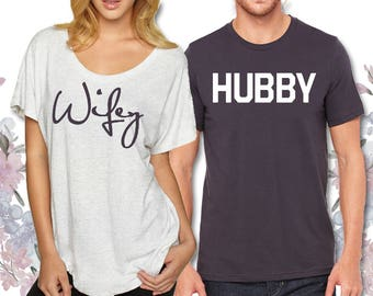 Wifey and Hubby Shirts - Newlywed Couple Shirt Set - Gifts for Bride and Groom - Wedding Gift Shirt Set - Honeymoon Gift *Set of 2 for 35*