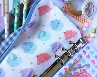 Zippered pouch pocket filofax kikki-k Ring Planner Eyelet Cupcake Case