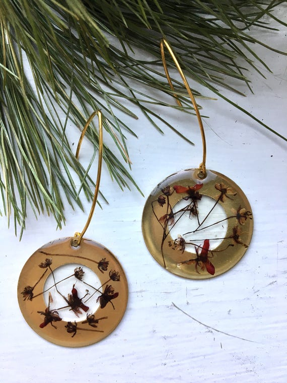 Japanese Maple flower brass circle danglies