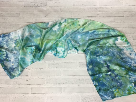 "100% Silk Scarf Ice Dyed in Beautiful Blues Artistic Watercolor Scarf 15""x60"" Oblong Rectangle Coworker Gift #140"