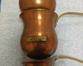 Copper and Brass Drink Warming Ladels, Rum/Whiskey/Brandy 3-ladel warming set, Hot Toddy Copper and Brass Drink Warmers