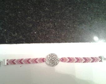 Friendship Bracelet with rose shade of pink with clasp (16, 5cm)