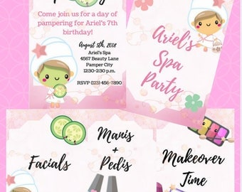 Girl's Spa Party Birthday Bundle for Download- Set of 5