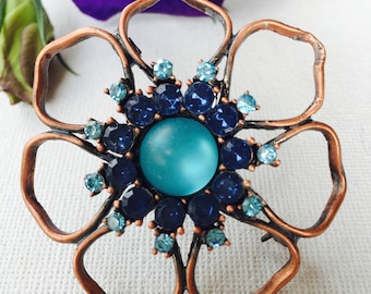 Blue Rhinestone Handcrafted Vintage Brooch - Sunning Two Toned Crystals